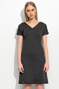Black Short Sleeves Plain Dress