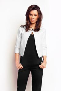 Ecru One Button Short Bolero Blazer
