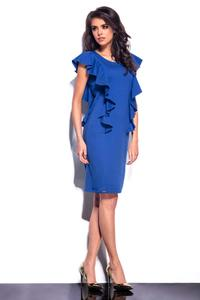 Blue Frilled Midi Dress