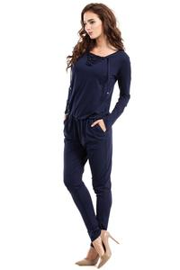Dark Blue Lace-up Front Jumpsuit
