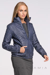 Dark Blue Light Padding Stand-up Collar Short Jacket