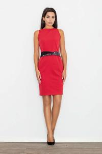 Red Pencil Coctail Dress with Sash
