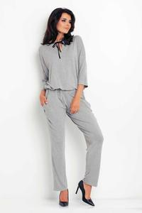 Grey Lace Back Long Jumpsuit