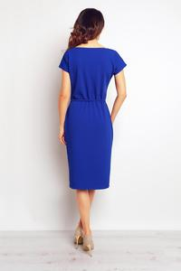 Blue Casual Midi Dress with Big Pockets