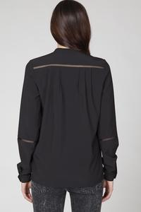 Black Classic Long Sleeves Shirt with Ajure Stripes