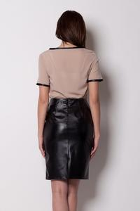 Pencil Leather Black Skirt with Back Seam zip Fastening
