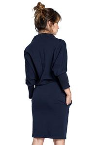 Dark Blue Casual Dress with Wide Tourtleneck