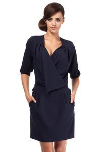 Dark Blue Elegant Office Style Unique Collar Dress