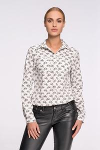 White Casual Ladies Shirt with Bikes Pattern