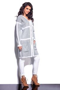 Grey&White Long Cardigan with Contrasting Piping