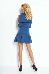 Blue Mini Dress with Frill and Wide Tourtleneck