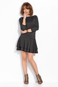 Black Light Pleats Mini Casual Dress