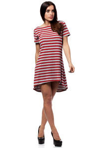 Red Bateau Neck Striped Dippy Hemline Shift Dress