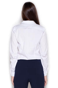 White Collared Body Suit Shirt with Long Sleeves