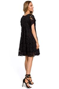 Black Airy Lace Dress with a Mini Sleeve