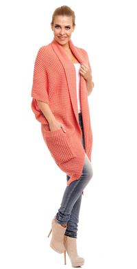 Salmon Oversized Cardigan with Pockets