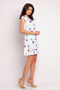 White&Purple Print Short Sleeves Mini Dress