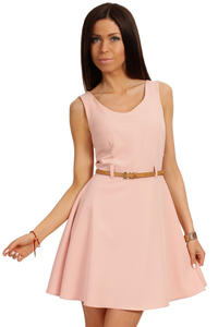Powder Pink Round Neck Sleeveless Flippy Dress with Belt Loops