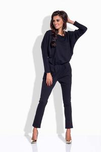 Black Bat Sleeves Jumpsuit