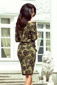 Khaki Dress Drawn in Round Leaves