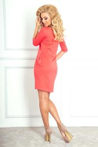 Coral Red Mini Dress with Side Pockets