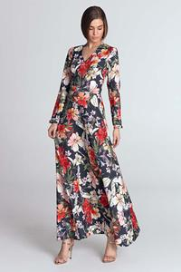Dark Blue Maxi Long Floral Pattern Dress