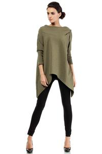 Khaki Oversized Asymetrical Hooded Blouse