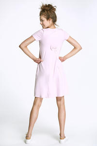 Pink Flared Mini Dress with Bow at The Back