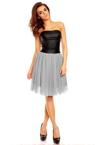 Grey Tulle Prom Dress with Bandeau Leather Bodice