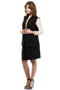 Black Ladies Vest with Pockets and Belt