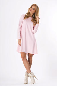 Pink Plain Long Sleeves Dress