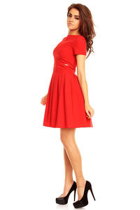 Red Pleated Seam Dress with Metallic Emblem