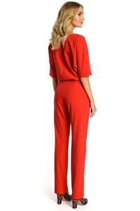 Red Elegant Jumpsuit with Short Sleeves