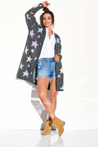 Graphite Cardigan without Fastening with Colorful Stars