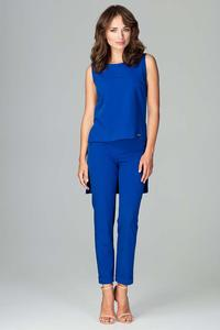 Blue Elegant Set Blouse and Pants 7/8