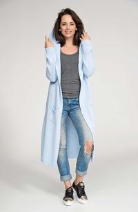 Light Blue Hooded Maxi Sweater