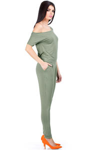 Khaki Off-shoulder and Long Legged Jumpsuit
