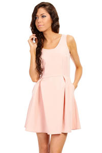Soft Pink Sleeveless Pleated Korean Flippy Dress