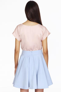 Light Blue Delicate Pleats Flared Skirt