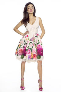 Ecru Coctail Floral Pattern Dress with Tulle