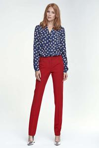 Red Elegant Office Style Pants