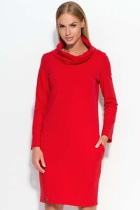 Red Casual Dress with Tourtleneck