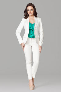 Petite Peak Collar Ecru Blazer with Single Button Fastening