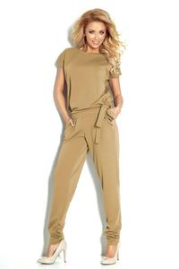 Beige Open Back Elegant Ladies Jumpsuit