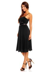 Black Spaghetti Straps Coctail Dress with A Flower