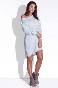 Blue Knitted Dress with Asymetrical Neckline