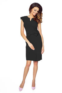 Black Elegant Bodycon Fit Dress with Bow