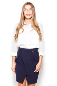 Dark Blue Mini Pencil Skirt with Pockets