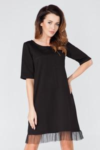Black 1/2 Sleeves Plain Dress with Tulle Edging