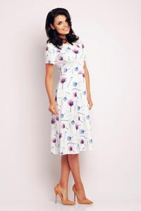 Purple&White Floral Pattern Flared Short Sleeves Dress